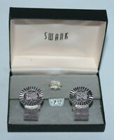 vintage Swank silver tone cuff link cufflinks & tie tac set in box