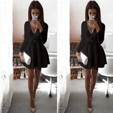 Women Long Sleeve V Neck Skirt Dress Evening Party Mini Skater Dress UK Size6-12