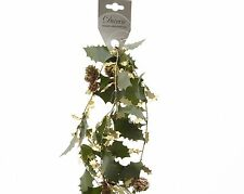 Tinsel Holly Christmas Garland Decoration with Pine Cones Gold Glitter 150cm