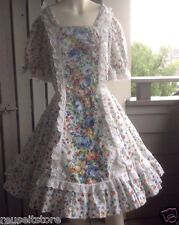"SQUARE DANCE DRESS White Floral Ful Skirt Size LARGE B 42"" W 31"" VTG Rockabilly"