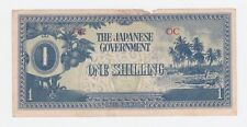 THE JAPANESE GOVERNMENT One Shilling WWII BANKNOTE Invasion Money Y-955