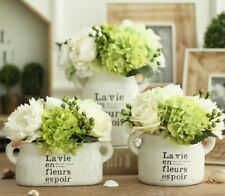 White Clay Vintage Vase Set For Home Desktop With Artificial Flowers Decorations