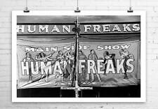 Human Freaks Vintage Side Show Banner Rolled Canvas Giclee Print 36x24 in.