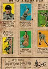 1928 Babe Ruth, New York Yankees Fro-Joy Uncut REPRODUCTION Sheet (TCMA)