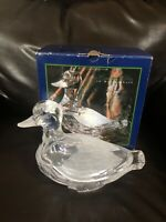 DUCK MALLARD CRYSTAL CLEAR AND FROSTED GLASS CANDY DISH BOWL 2 PC New With Box