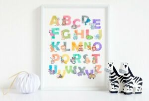 Watercolour Animal Alphabet Print, Cute Poster, Girls/Boys Bedroom, Educational