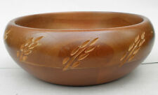 Baribocraft Cda Wood Serving Salad Bowl Carved Leaf Decor Light Teak Stain TLC