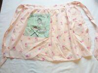Apron Vintage 1950's Half Apron Cotton Pink Floral Print Pressing Date