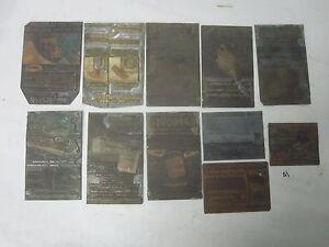 Lot of 11 Vintage Copper Lead Printer Block Plates Turco-Solv National RailRoad