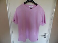 Ladies pink beaded round neck short sleeve top from Cozzi size XL