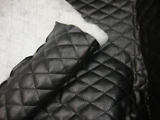 Vinyl Faux leather Black soft 2x3 Diamond Quilted fabric Batting Backing yard