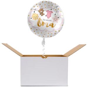 Ballonpost / Ballongrüße - Folienballon - Geburt - Du wirst Oma Ø 45 cm