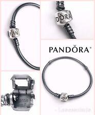 """Pandora Silver OXIDIZED Charm Bracelet 7.9"""" Barrel S925 590702 + Pouch AUTHENTIC"""
