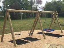Commercial Double Wooden Swing Set. Pressure Treated NEST SWING, Climbing Frame.