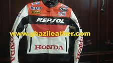 HONDA REPSOL MEN MOTORBIKE LEATHER RACING JACKET RED & WHITE AVAILABLE ALL SIZES