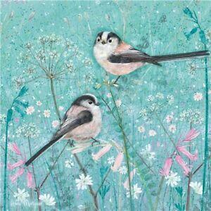 Long-tailed Coal Tit Birds Greetings Card - Anne Mortimer birthday blank inside