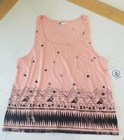 NWT Volcom Women's Tank Top Shirt Small  Salmon Pink Black Cute Pattern RARE!