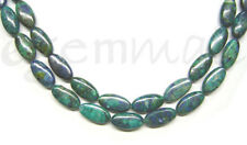 "23 Azurite Flat Oval Beads 9x18mm 16.5"" #57009"