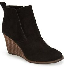 Lucky Brand Womens Yoniana Black Suede Wedge Bootie Size 12 NIB $140