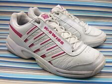 K SWISS WHITE SNEAKERS TRAINING WALKING LEATHER WOMENS SHOES 9.5