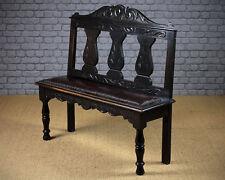 Antique Carved Oak Hall Seat c.1880.