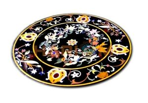 2.5' Round Marble Corner Coffee Table Top Precious Stone Floral Inlay Decor B693