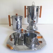 VINTAGE 1930'S ART DECO FARBERWARE CHROME BAKELITE COFFEE & TEA SERVICE 8PC SET