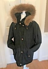 BERNARDO Women's Winter Jacket Coat Parka Fox Fur Trim Hood Size Small