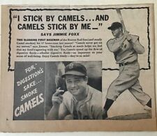 1937 newspaper ad for Camels - Jimmie Foxx Boston Red Sox baseball
