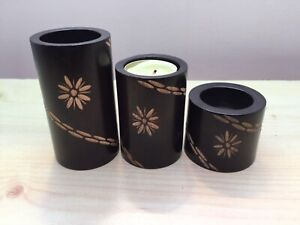 3x Wooden Tea Light Candle Holders -   Round in Various Sizes - Teak - Thailand