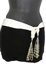 À la Mode pour Femmes Ceinture Long Crème Blanc Cravate Frange Perles Écharpe