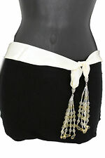 Women Fashion Belt Long Cream Off White Tie Fringe Beads Scarf Hip Waist XS S