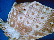VINTAGE Hand Crocheted Afghan Blanket Bronze/Brown & White 62x31 Granny Squares