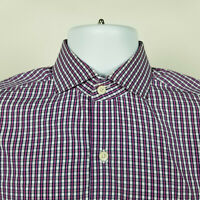 Twillory Tailored Fit Mens Dress Purple White Blue Check Plaid Button Shirt 15.5