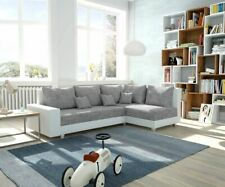 Couch Panama Hellgrau Weiss Ottomane rechts modulares Ecksofa  by DELIFE