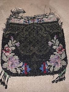 Antique Vintage Victorian Micro Beaded Purse Bag For RepairFrance Damask