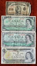 New listing Canada Lot Of 4 Banknotes $0.25 & $1 From 1923 - 1973 Circulated No Reserve