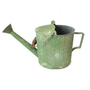 4.5L Handmade Shabby Chic Iron Watering Can with Green Textured Finish & 2 Handl