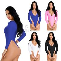 Womens Ladies Long Sleeve Leotard Bodysuit Crotchless Thong Jumpsuit Stretch Top