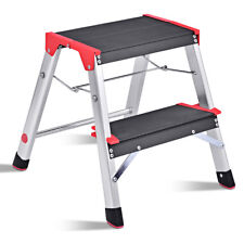 2 Step Aluminum Lightweight Ladder Folding Non-Slip Platform Stool 330Lbs Load