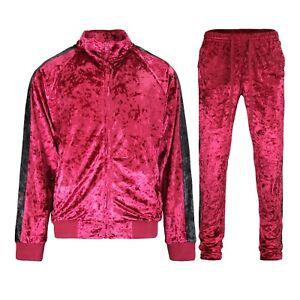 Men's Velvet Velour Tracksuit Set Jogging Jacket and Sweatpants S~5XL   ST851EY