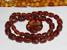 Vintage USSR Beautiful Amber set Necklace + broch, pressed amber 127g