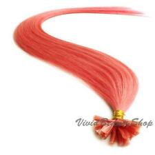 "200 Pink Pre Glue Bond U Nail Tip Keratin Fusion Remy Human Hair Extensions 22"""