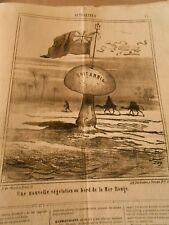 Caricature 1868 - Champignon drapeau Anglais végétation au bord de la mer rouge