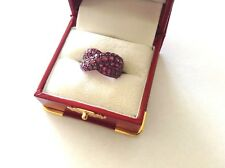 "Sterling Silver Faceted Ruby Crystal Ring w/Beaded Silver ""X"" Shape size 5"
