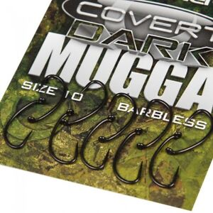 Gardner Covert Dark Mugga Hooks Barbless *All Sizes* NEW Carp Fishing Hooks