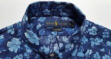 Mens Ralph Lauren Polo Floral Blue Flower Shirt Button Up Luxury Linen S NEW