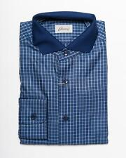 Brioni NWT Blue 100% Cotton Grid Pattern Knit Collar Casual Shirt II S US