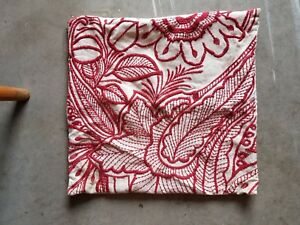 """Pottery Barn """"Embroidered Red Floral"""" Linen 20"""" Pillow Cover"""