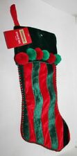Red & Green Christmas Holiday Stocking - Velour - Festive Home Decoration - Nwt